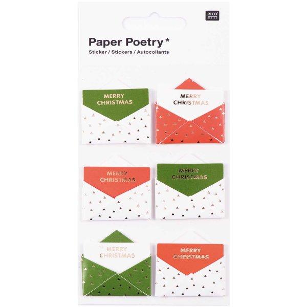 Paper Poetry 3D Sticker Umschläge grün-rot Hot Foil