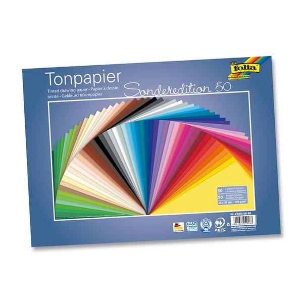 folia Tonzeichenpapier 25x35cm 130g/m² 50 Bogen