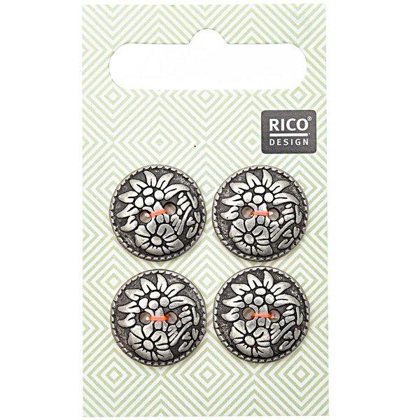 Rico Design Trachtenknöpfe Blumen 1,7cm 4 Stück