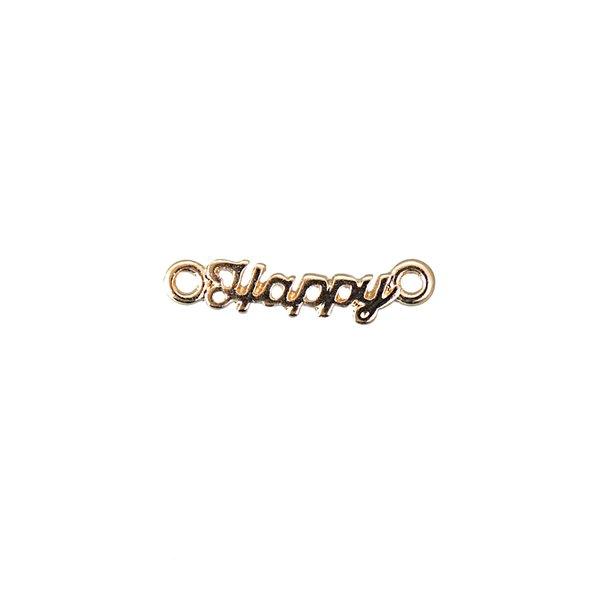 Jewellery Made by Me Schriftzug Happy gold 19x6mm