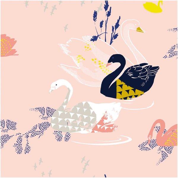 Rico Design Druckstoff Okina Hana Schwan rosa-schwarz 50x140 beschichtet