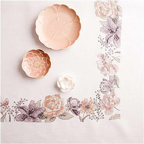 Rico Design Stickpackung Decke Frühlingsblumen 90x90cm