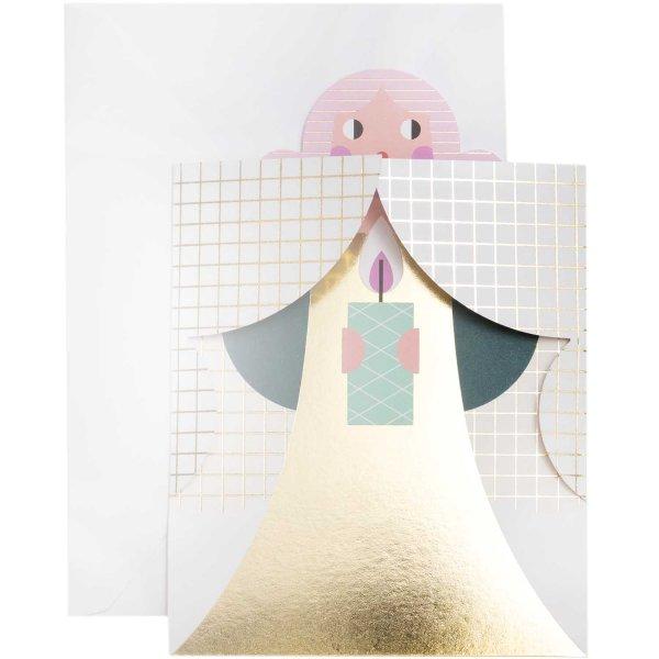 Paper Poetry 3D-Karte Engel petrol-pink B6