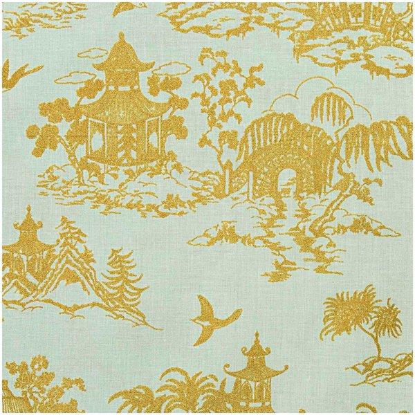 Rico Design Stoff japanische Häuser mint-gold 50x140cm