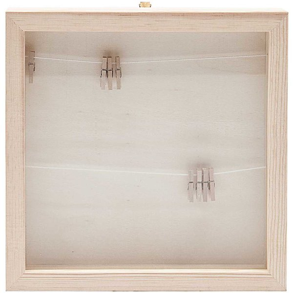 Rico Design Holz Bilderrahmen mit Fotoleine 33,6x33,6x3cm