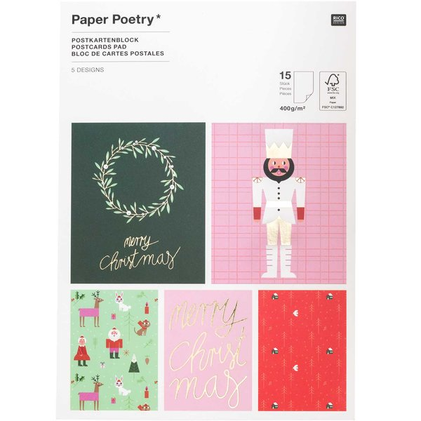 Paper Poetry Postkartenblock Christmas is in the air 15 Stück