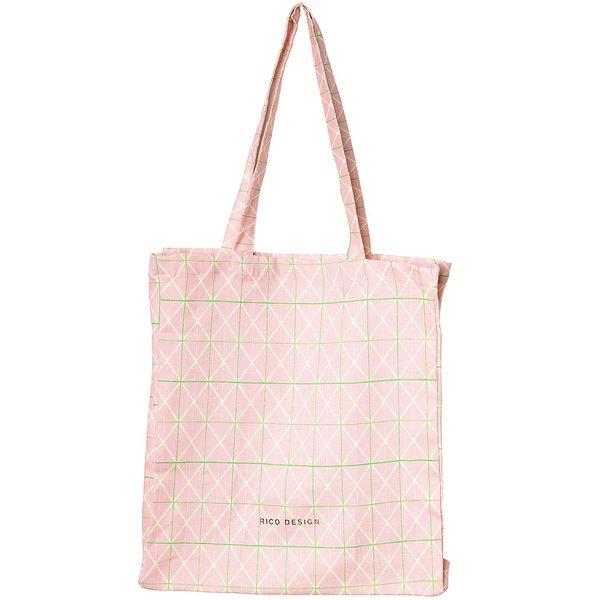 Rico Design Canvas-Shopper Raster rosa 38x45x10cm
