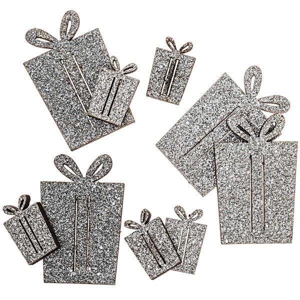 Geschenkstreu silber-glitter 24 Stück