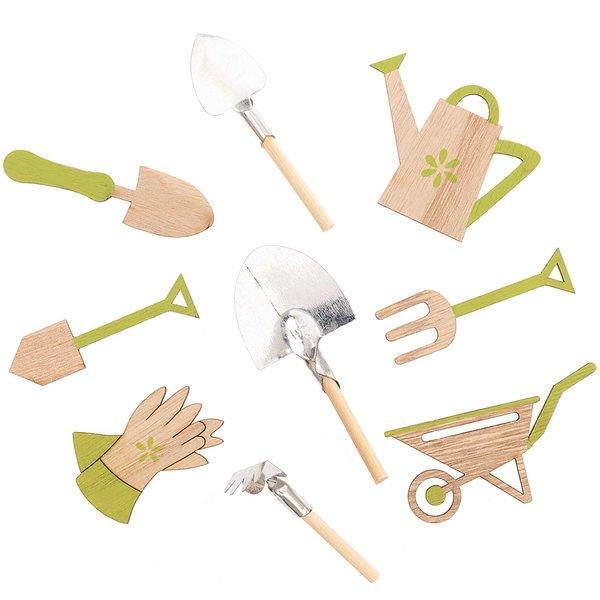 Streu Gartenwerkzeug grün-natur 9 Stück