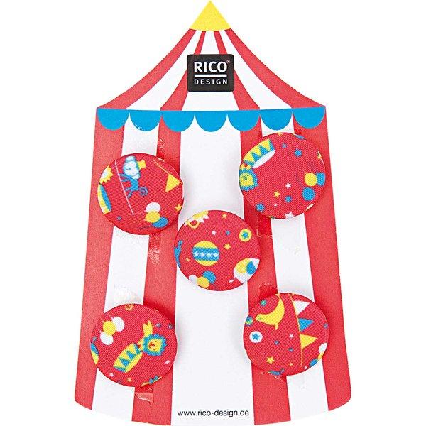 Rico Design Knopf Zirkus rot 2,5cm 5 Stück