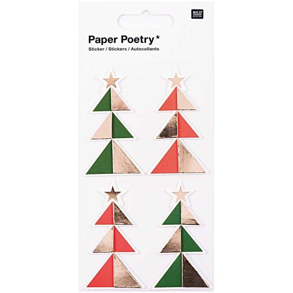 Paper Poetry 3D Sticker Tannen grün-rot Hot Foil