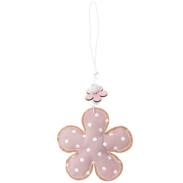 Stoffblume zum Hängen rosa-weiß 8cm