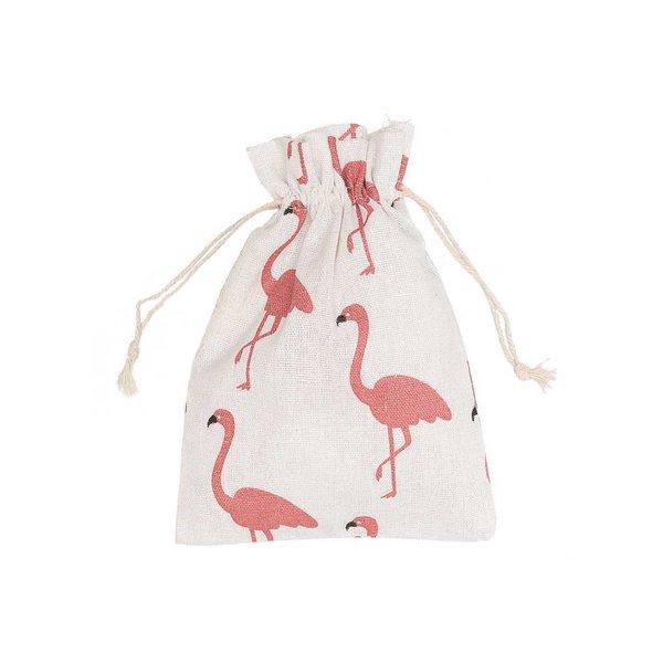 Beutel Flamingo weiß-rosa 20x15cm