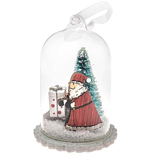 Dekohaube Glaskuppel Santa mit Geschenken 20x7cm