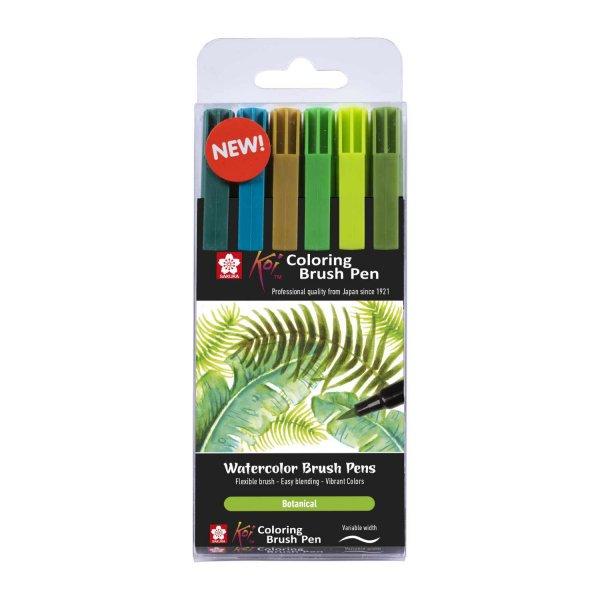Koi Coloring Brush Pens Botanical 6teilig