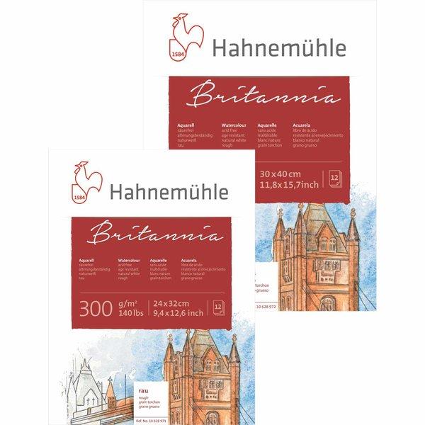 Hahnemühle Aquarellblock Britannia rau 300g/m² 12 Blatt