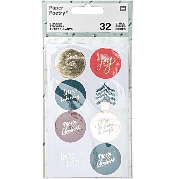 Paper Poetry Sticker Jolly Christmas Classic rund 4 Blatt