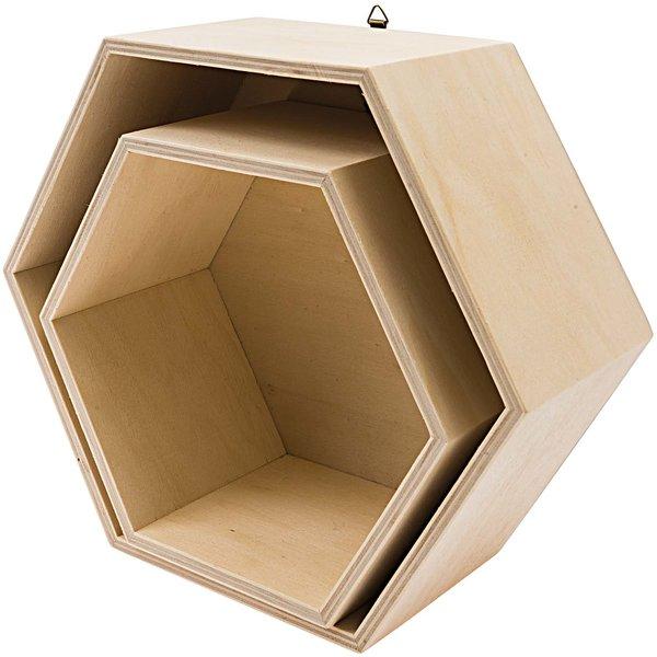 Rico Design Holzbox Set sechseckig 2teilig