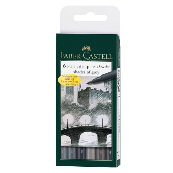 Faber Castell PITT artist pen brush Shades of grey 6er Set