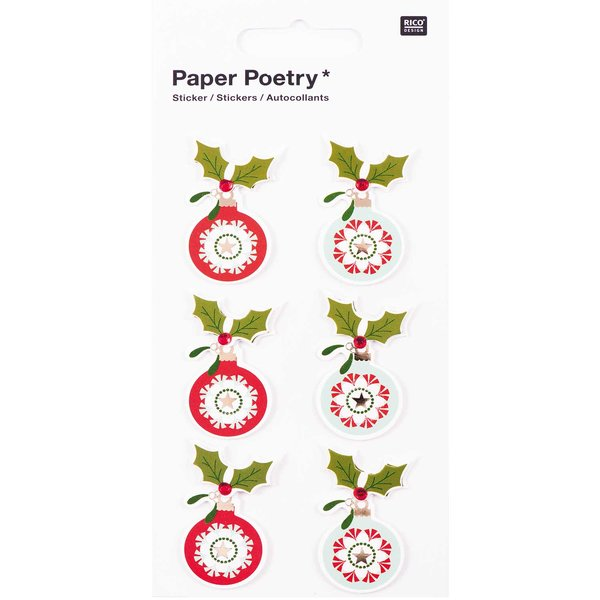 Paper Poetry 3D Sticker Kugeln rot-mint Hot Foil