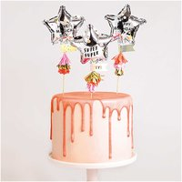 YEY! Let's Party Kuchentopper Folienballon-Sterne 3 Stück