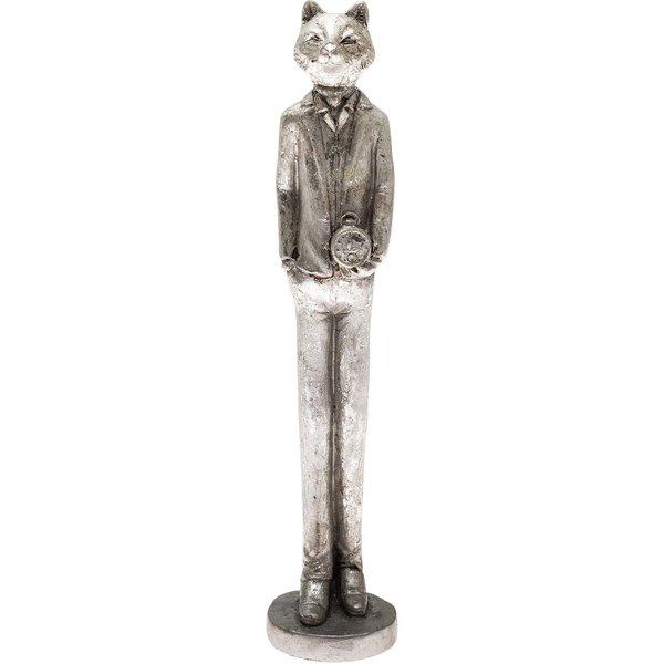 Deko-Katze stehend chrom 22cm