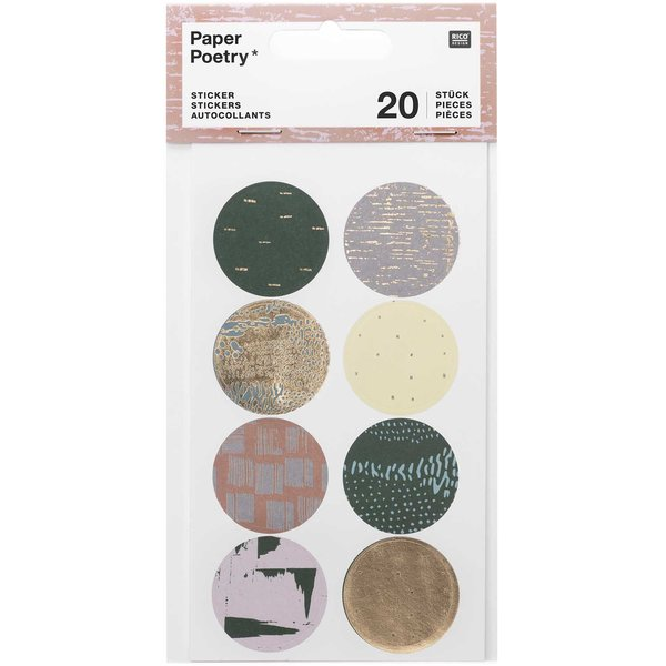 Paper Poetry Sticker Struktur grün 4 Blatt