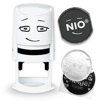 NIO Stempel NI0010 mit Stempelkissen und Gutschein fancy grey 3teilig