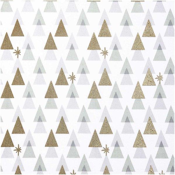Rico Design Druckstoff grafische Tanne weiß-gold 50x140cm