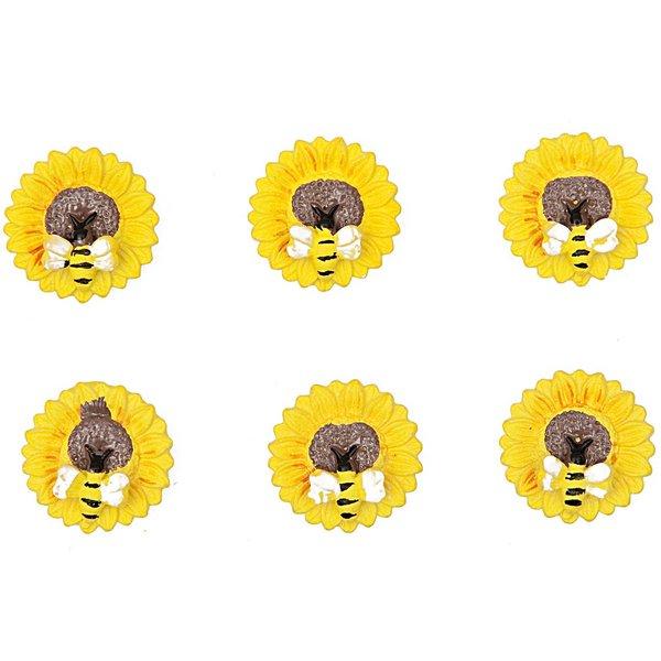 Rico Design Sticker Blüte mit Biene 2,5cm 6 Stück