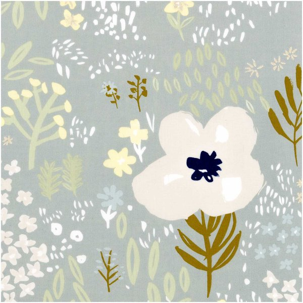 Rico Design Druckstoff Crafted Nature Blumen grau metallic 50x140cm