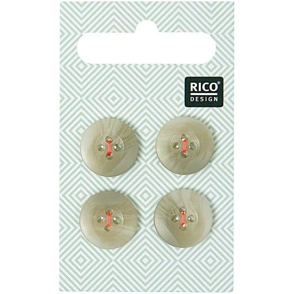 Rico Design Knopf beige strukturiert 1,5cm 4 Stück