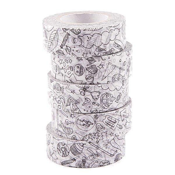 Paper Poetry Tape Set zum Ausmalen 1,5cmx10m 5 Stück