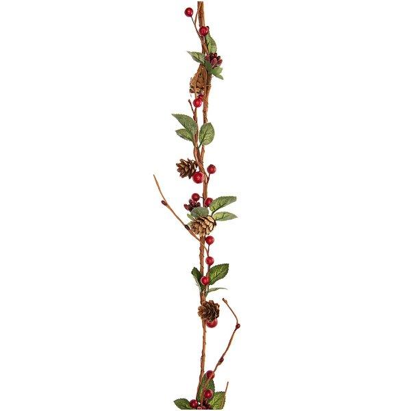 Girlande mit Zapfen und Beeren rot-grün 120cm