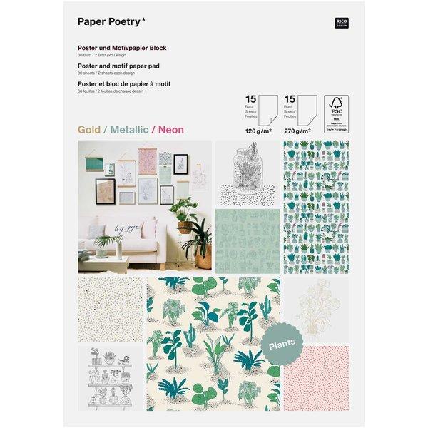 Paper Poetry Motivpapier Block Hygge Plants 30 Blatt