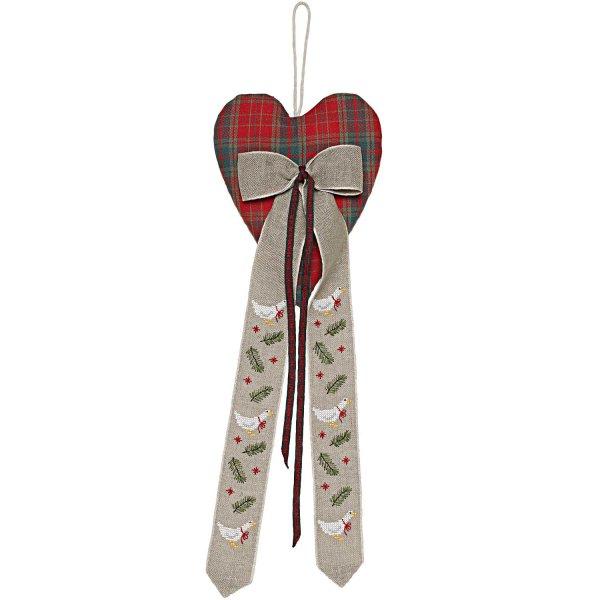 Rico Design Stickpackung Herz mit Dekoschleife Gans 15,5x43cm