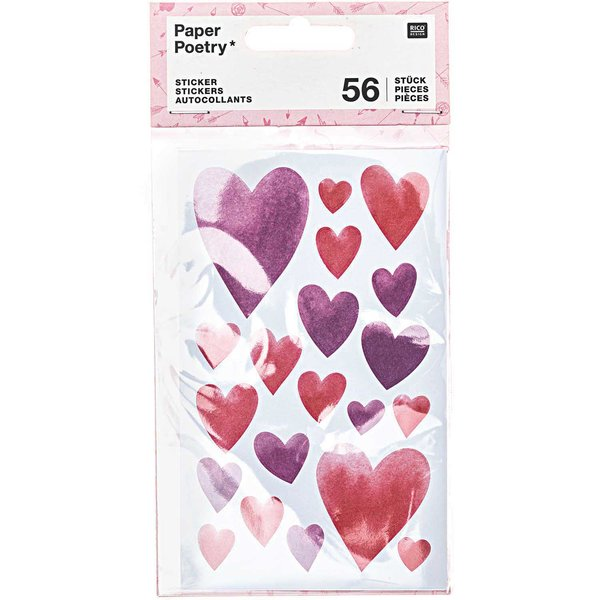 Paper Poetry Sticker It must be love Herzen aquarell 4 Blatt