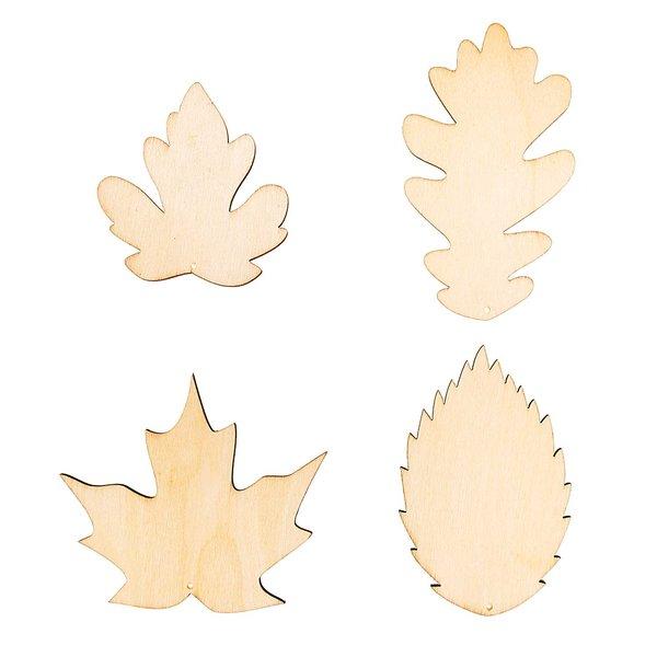 Rico Design Holzdekoanhänger-Set Blätter 4teilig