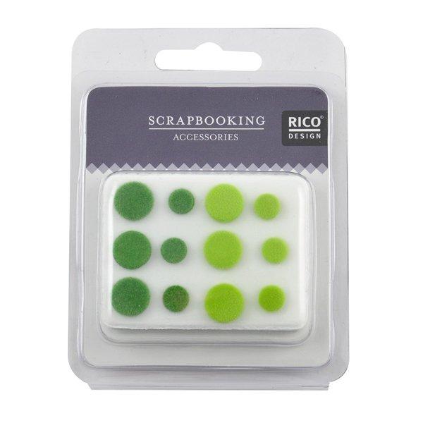 Rico Design Scrapbooking Nieten beflockt grün 12 Stück