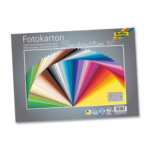 folia Fotokarton farbig sortiert 25x35cm 300g/m² 50 Bogen