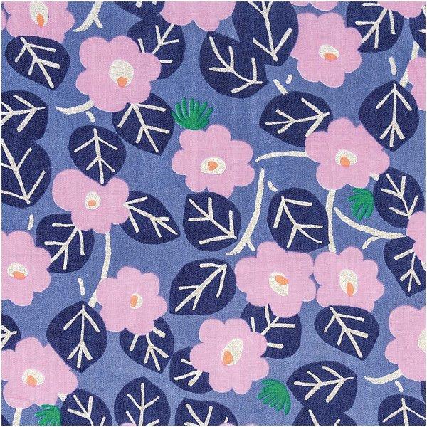 Rico Design Musselin-Druckstoff Aloha Blumen blau Hot Foil 140cm