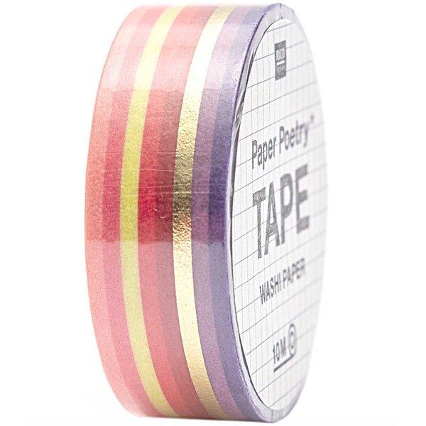 Paper Poetry Tape Streifen rot-gold 1,5cm 10m
