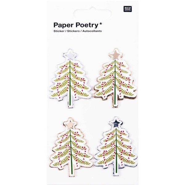 Paper Poetry 3D Sticker Tannenbäume Hot Foil