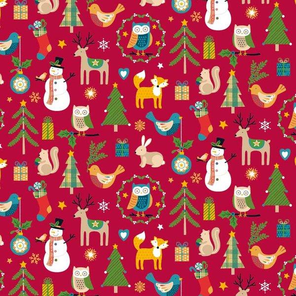 Rico Design Stoff Weihnachten mit Tiermotive rot 50x55cm