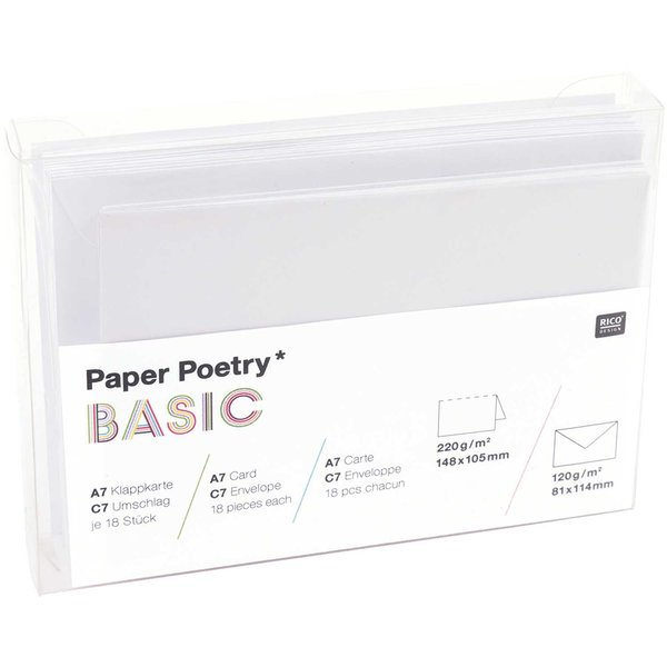 Paper Poetry Kartenset Basic weiß A7/C7 30teilig