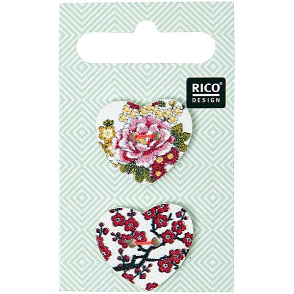 Rico Design Knöpfe Herz 2,5cm 2 Stück