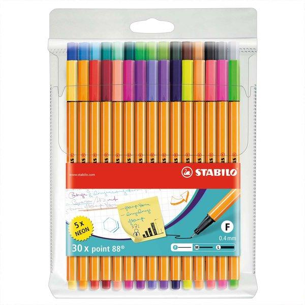 Stabilo Point 88 Fineliner im Etui 30 Farben