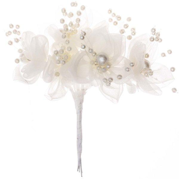Blüten mit Perlen Organza creme 6 Stück