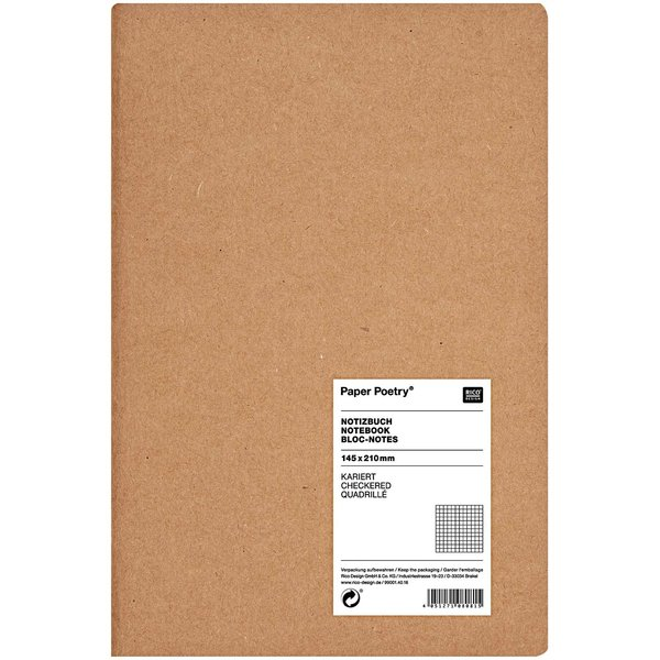 Paper Poetry Notizbuch A5 Kraftpapier kariert