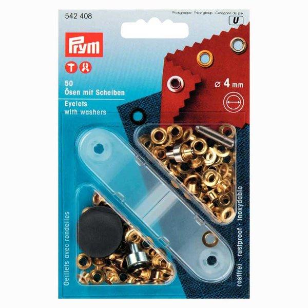 Prym Ösen mit Scheiben gold 4mm 50 Stück
